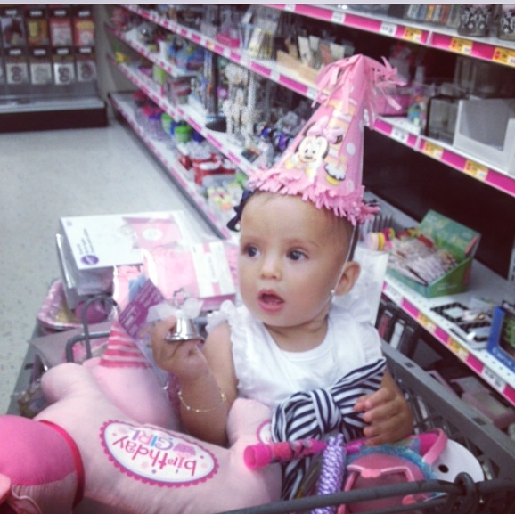 Domique shopping for her first birthday party