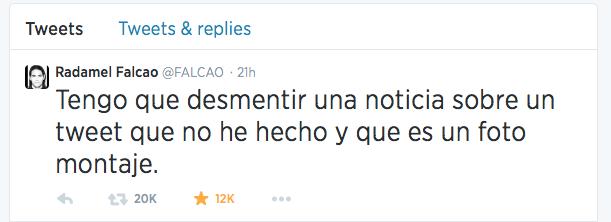 falcao tweet refutes