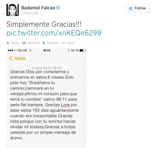 Falcao Tweet